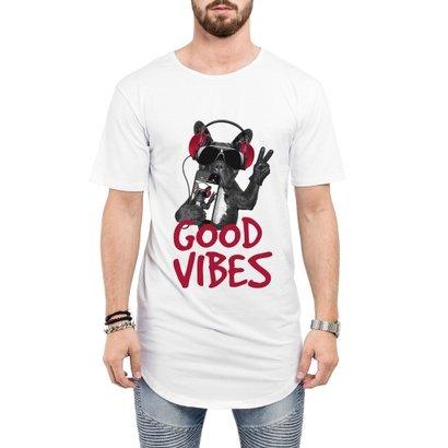 Camiseta Criativa Urbana Long Line Oversized Engraçadas Good Vibes Bull Dog Iphone