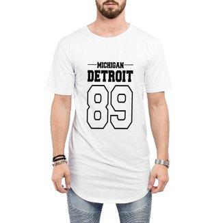 Camiseta Criativa Urbana Long Line Oversized  Michigan Detroit 89