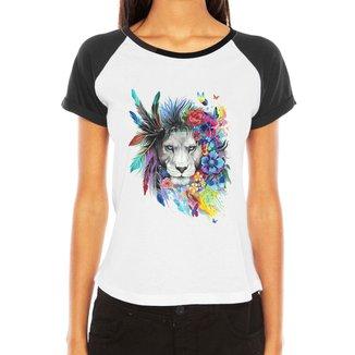 Camiseta Criativa Urbana Raglan  Leoa Psicodélica
