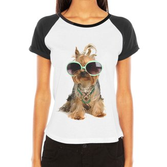 Camiseta Criativa Urbana Raglan  Tshirt Pet Love Shitzu Dog Óculos