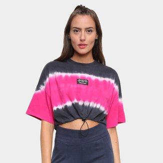 Camiseta Cropped Colcci Tie Dye Ajustável Mickey Feminina
