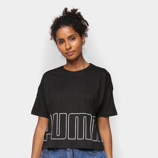 Camiseta Cropped Puma Logo Feminina