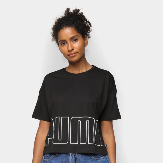 Camiseta Cropped Puma Logo Feminina - Preto