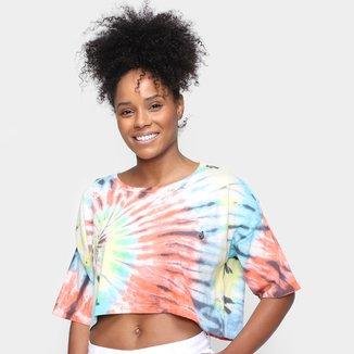 Camiseta Cropped Volcom Tie Dye Galatic Stone Feminina