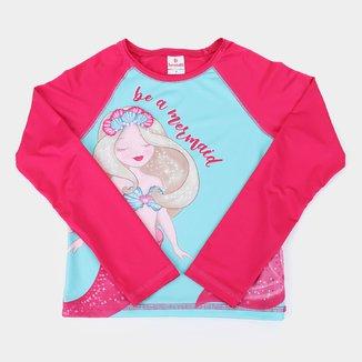 Camiseta de Praia Infantil Brandili Com Proteção UV 50+ Manga Longa Let's Go Beach Feminina