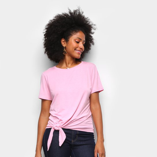 Camiseta Dooplex Amarração Feminina - Rosa Claro