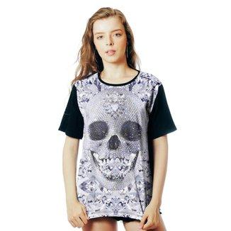 Camiseta ElephunK Estampada Caveira Diamantes