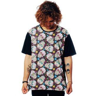 Camiseta ElephunK Estampada Caveira Mexicana