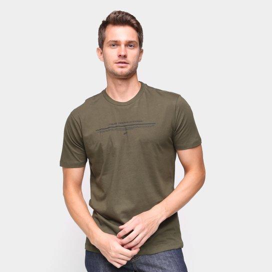 Camiseta Ellus Estampada Manga Curta Masculina - Verde Militar