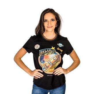 Camiseta Estampada Aplicação Colcci