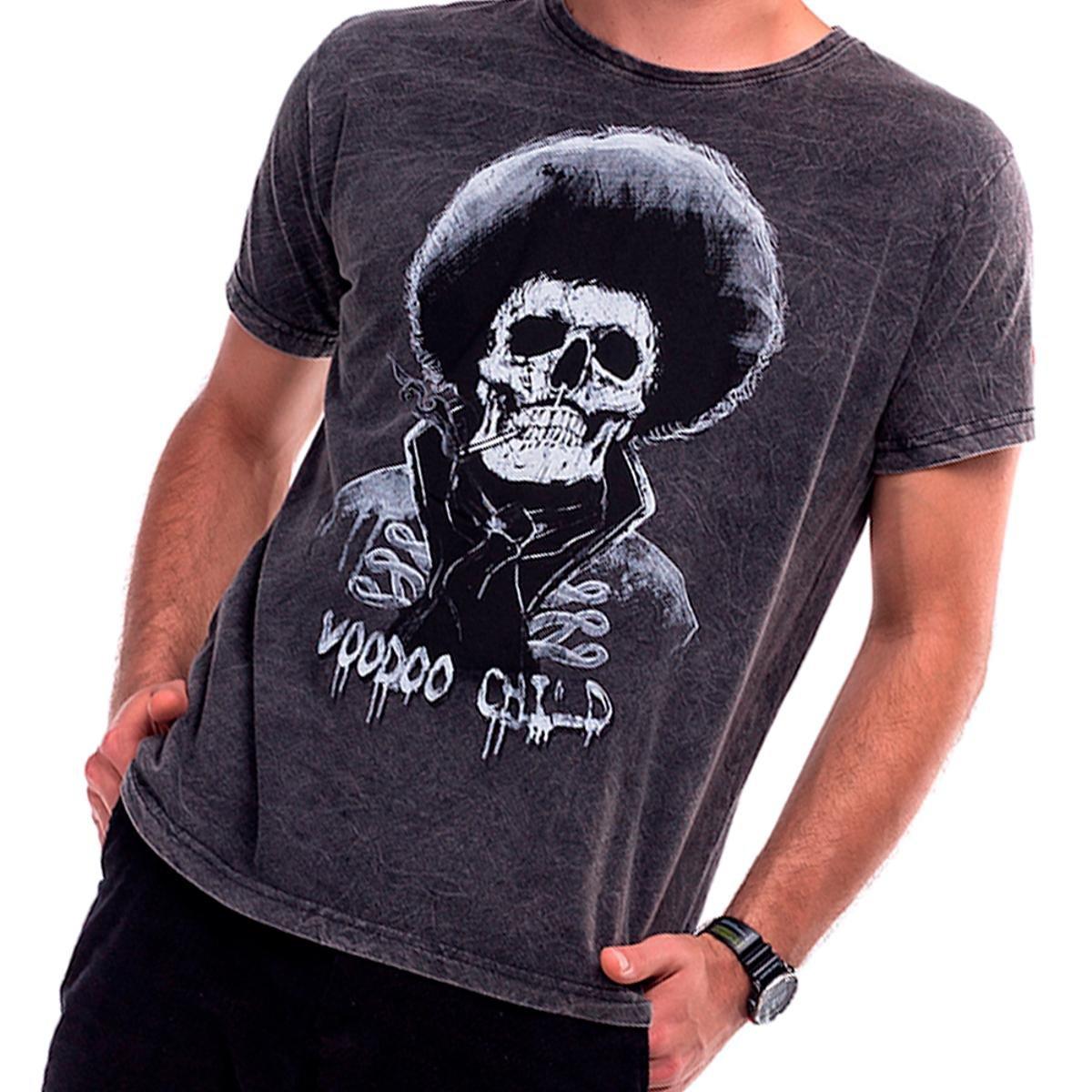 Camiseta Estonada Skull Hendrix UseLiverpool Masculina - Preto