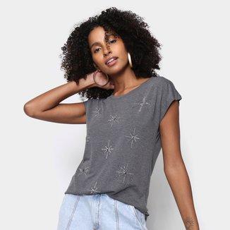 Camiseta Facinelli Brilho Manga Curta Feminina