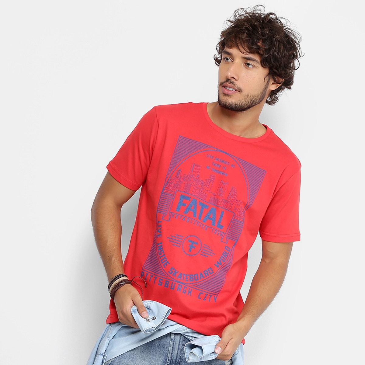Camiseta Fatal Skateboard World Masculina - Vermelho - Compre Agora ... 58df985c6af