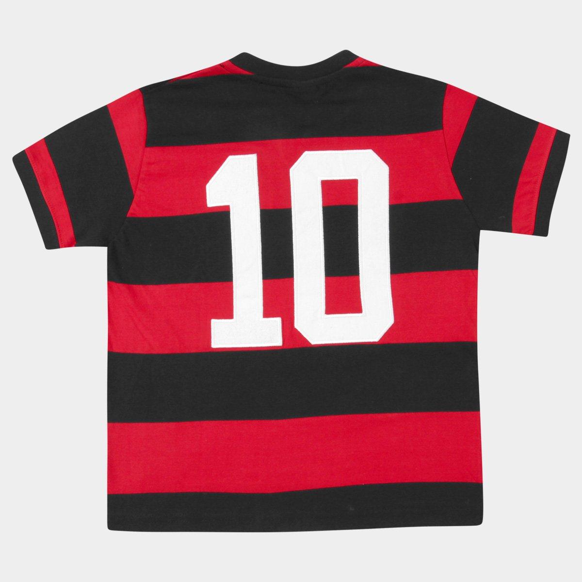 441d2a8e6d Camiseta Flamengo Retrô - Zico Infantil - Vermelho e Preto - Compre ...