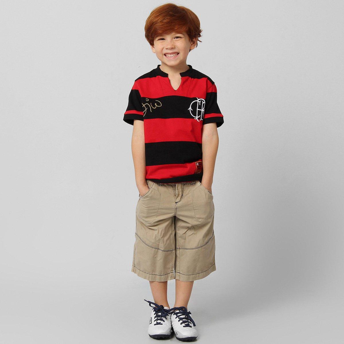 Camiseta Flamengo Retrô - Zico Infantil - Vermelho e Preto - Compre ... b0dea559a2c21