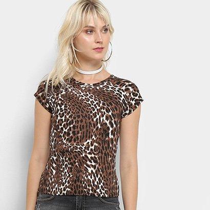 Camiseta Flora Zuu Animal Print Onça Feminina-Feminino