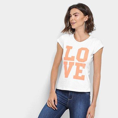 Camiseta Flora Zuu Estampa Love Feminina-Feminino