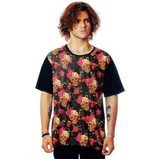 Camiseta Florida ElephunK Estampada Caveira Floral