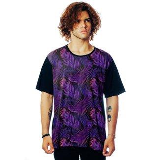 Camiseta Folhagens ElephunK Estampada Tropical Dark Neon