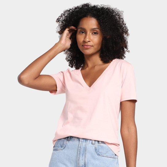 Camiseta Hering Gola V Lisa Feminina - Rosa Claro