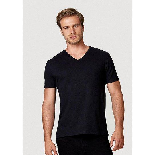 Camiseta Hering Manga Curta Super Slim Em Algodão Com Elastano Masculina - Preto