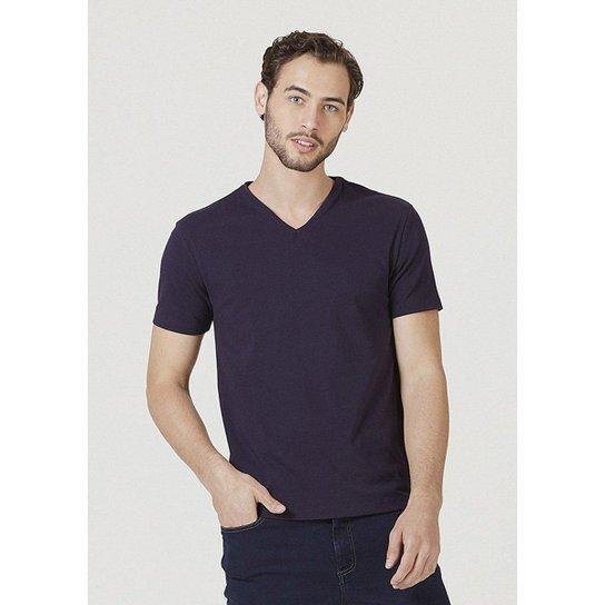 Camiseta Hering Manga Curta Super Slim Em Algodão Com Elastano Masculina - Azul