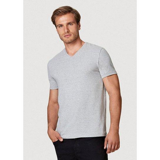 Camiseta Hering Manga Curta Super Slim Em Algodão Com Elastano Masculina - Cinza