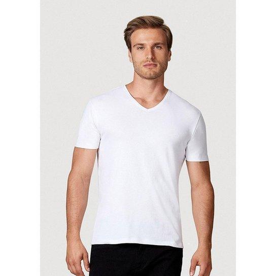 Camiseta Hering Manga Curta Super Slim Em Algodão Com Elastano Masculina - Branco