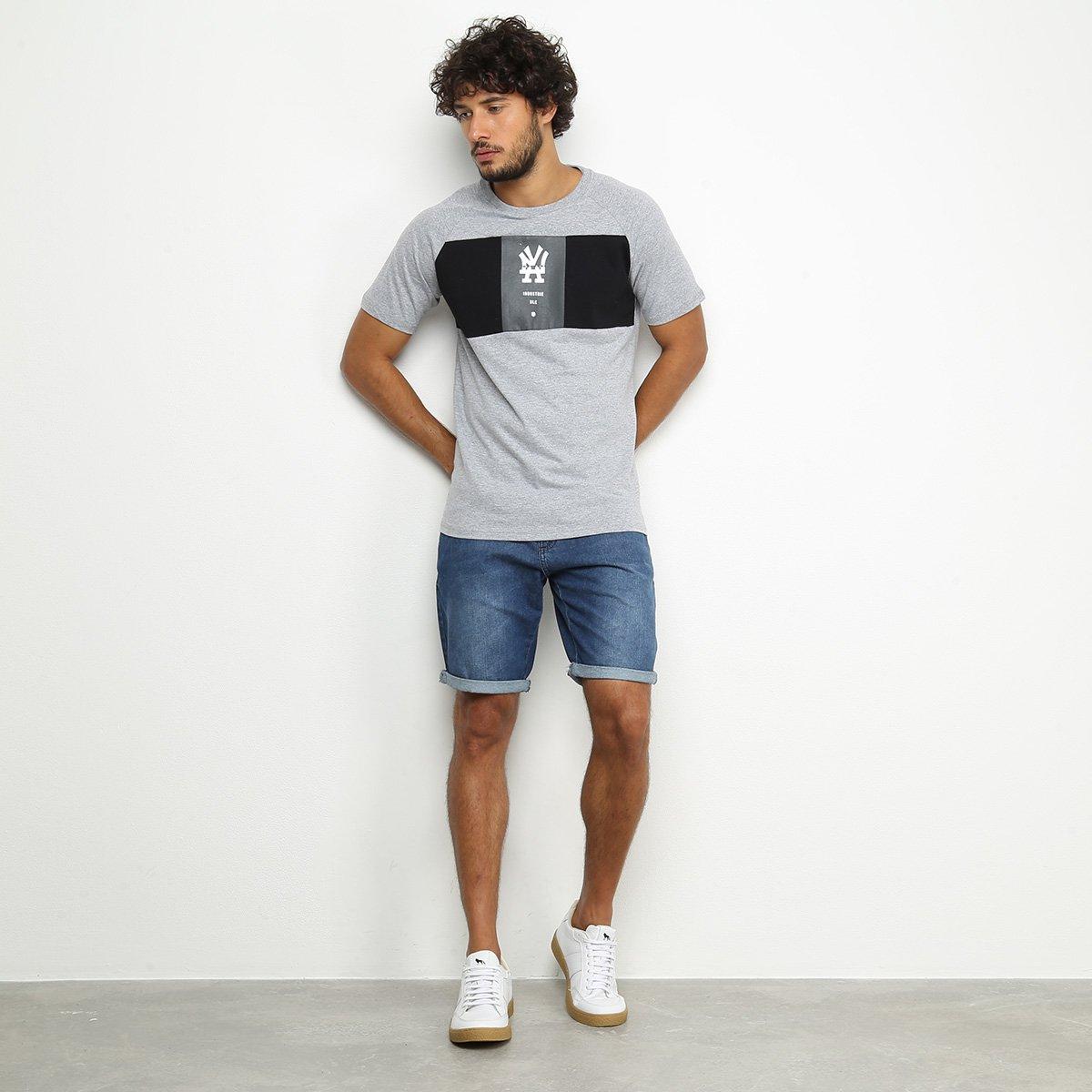 Camiseta Industrie Faixa Masculina - Cinza
