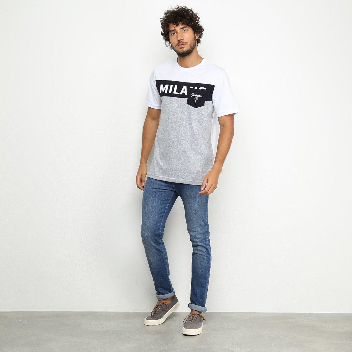 Camiseta Industrie Milano Masculina - Branco e Marinho