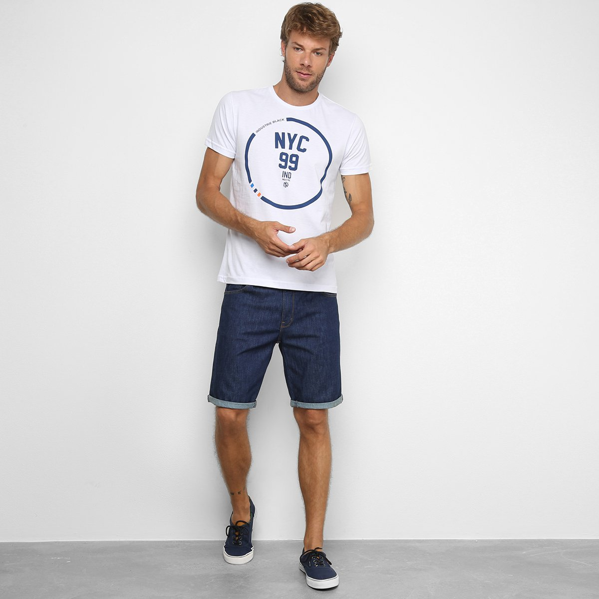 Camiseta Industrie NYC 99 Masculina - Branco