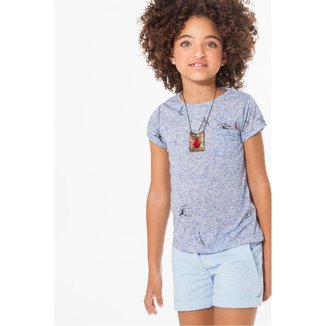 Camiseta Infantil Bolsinho Passaros Reserva Mini Feminina