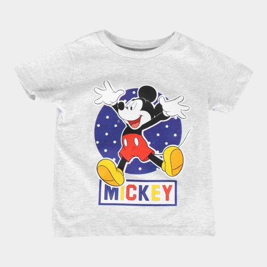 Camiseta Infantil Disney Mickey And Friends Happy Masculina - Mescla Claro