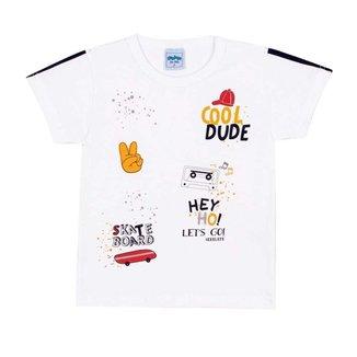 Camiseta Infantil Divertida Serelepe Branco