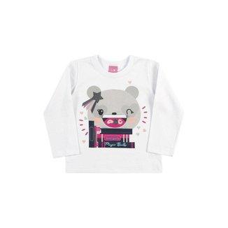 Camiseta Infantil Feminina Bebê Manga Longa Panda - ROSA - 2