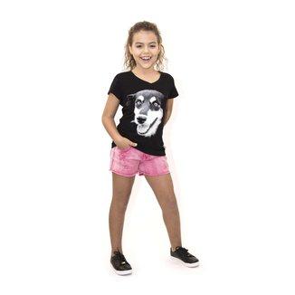Camiseta Infantil Gola V Estampa Cão ANIMI Feminina