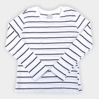 Camiseta Infantil Hering Listrada Manga Longa Masculina