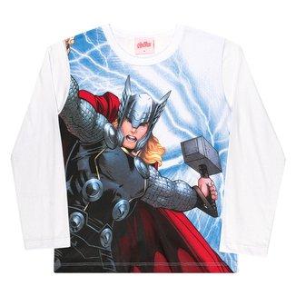 Camiseta Infantil Kamylus Marvel By Kamylus Thor Manga Longa Masculina