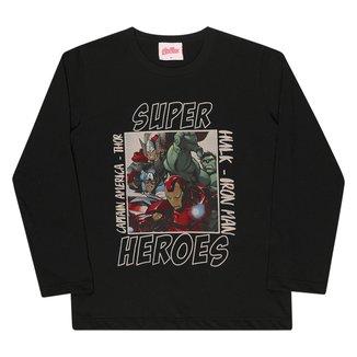 Camiseta Infantil Kamylus Vingadores Manga Longa Masculina