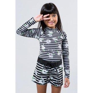 Camiseta Infantil Lycra Listra Floral Reserva Mini Feminina