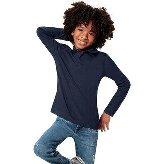 Camiseta Infantil Malwee Polo Manga Longa Masculina