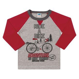 Camiseta Infantil Marlan Bike Manga Longa Masculina