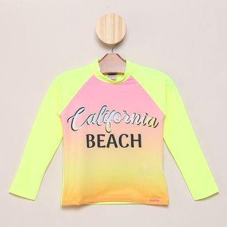 Camiseta Infantil Marlan Praia UV 50+ Manga Longa Feminina