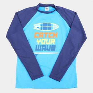 Camiseta Infantil Marlan Praia UV 50+ Manga Longa Masculina