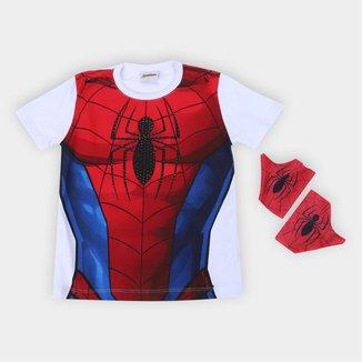 Camiseta Infantil Marvel Spider-Man + Luvas Masculina