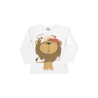 Camiseta Infantil Masculina Bebê Manga Longa Leãozinho - VERDE - 3