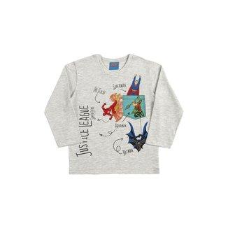 Camiseta Infantil Masculina Manga Longa Liga da Justiça - BRANCO - 1