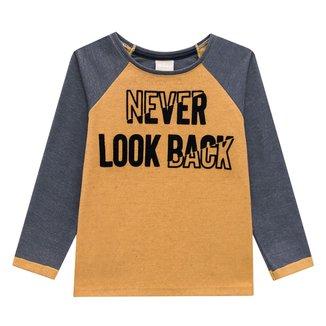 Camiseta Infantil Milon Flocada Manga Longa