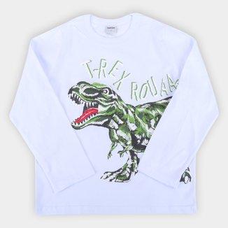 Camiseta Infantil Rovitex Dinossauro Manga Longa Masculina