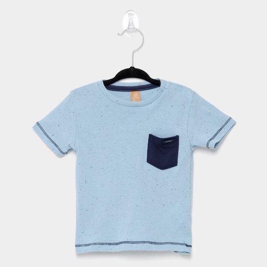 Camiseta Infantil Up Baby Botonê Bolso Manga Curta Masculina - Azul